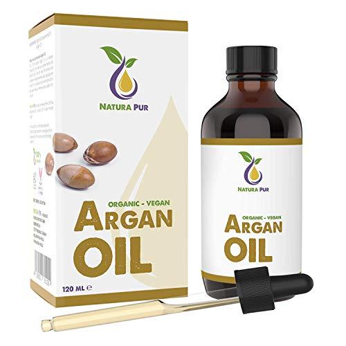 NATURA PUR Argan Olie Puur 120ml - 100% biologisch, koudgeperst, veganistisch uit Marokko - Antiaging en antirimpel serum voor gezicht, lichaam, haar, handen, huid en nagels