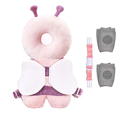 ZAYALI Toddler Baby Walker Head Safe Protection Backpack Adjustable Infant Cushion Pillow Safety Pad Baby Knee Pads Protection for Walking Crawling for Age 5 24months purple