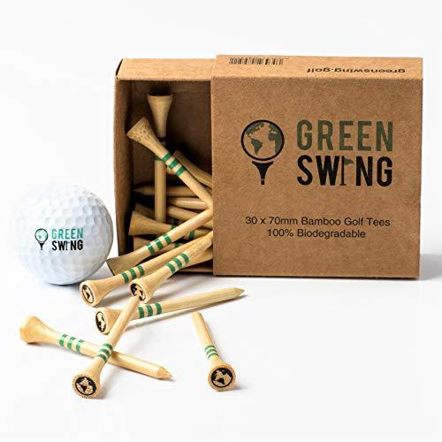 Green Swing Golftees, Bambus, 70 mm, stark, nachhaltig, biologisch abbaubar, 30 Stück