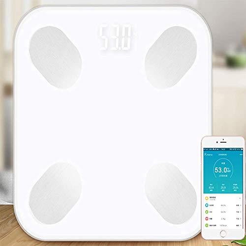FYLD Digitale weegschaal, bluetooth, ultraslanke weegschaal, met app voor BMI, gewicht, spiermassa, water, etc, led-display, G-vormige sensor, 180 kg, 26 cm x 26 cm