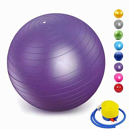 ZHENWEN Gymnastikball Pilates Ball Yoga Ball, inkl Aufblasen Röhrchens, Für Fitness, Rückentraining und Coordination Herren Damen Kinder,Lila,35cm