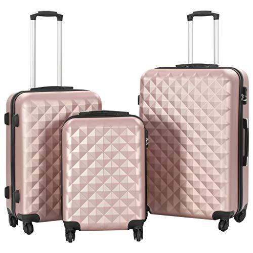 vidaXL Kofferset Hard 3-delig ABS Rosé Goud Reiskoffer Trolley Bagage Koffer