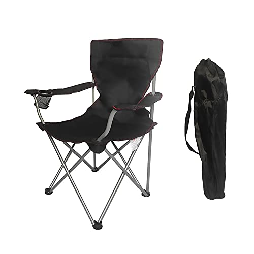 Kabxhueo Outdoor Camping Chair Portable Folding Camp Chairs - Portable Chairs with Cup Holder and Bag Perfect for Camping, Festivals, Garden, Caravan Trips, Fishing, Beach and BBQs black