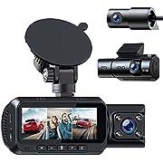 TOGUARD 3 Lens Dashcam 4K Auto Vorne Hinten,mit GPS-Logger,Wifi 1080Px3 Front Innen /Kabine und Heck Dreifach Autokamera mit IR Nachtsicht, Dual Dash Kamera Unterstützung 256 GB SD Karte