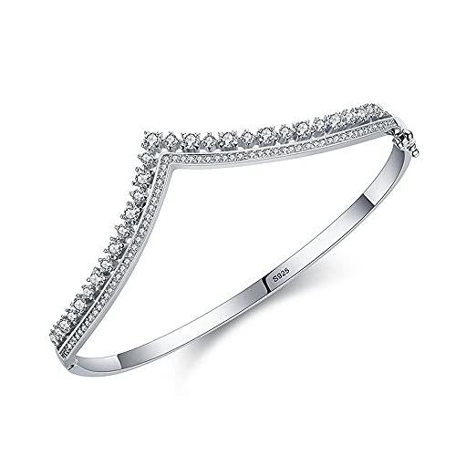 Pulsera de plata de ley 925 para mujer, con forma de V, con corona de diamante, con temperamento de lujo para mujer, esposa, madre, joyería perfecta para regalo de cumpleaños, aniversario