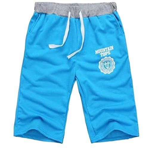 Hommes Shorts Moitié D'Été Plage Imprimé Coton Respirant Mode Casual en Plein Air Hommes Pantalones Soft Shorts M Bleu