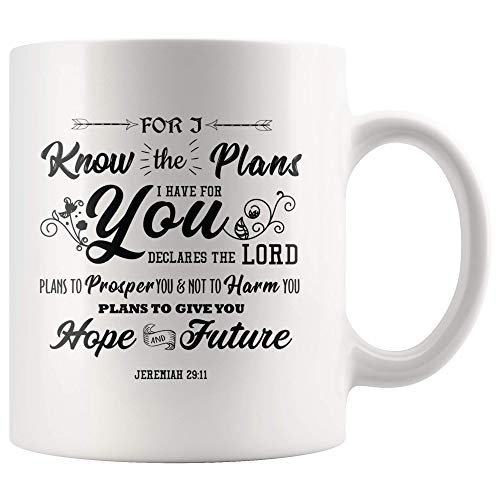 WTOMUG Jeremiah 29:11 I Know The Plans I Have for You Bible Verse Coffee Mug 11 Oz Gift Coffee Mug Tea Cup Mugs with Bible Verses Christian Gifts fro Women Easter Cups