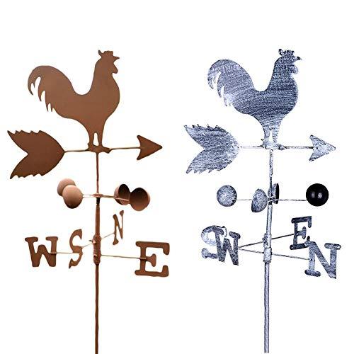 nalysevt Windrad Windmühle Retro goldenes Huhn Metall Windrad Wetterhahn Wetterfahne Windrad Windmühle kugelgelagert mit Windfahne