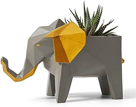 Amoy-Art Macetas de Planta Suculenta Flores Plantador Figura Elefante Decorativa para Hogar Regalo Navidad Resina 17cmL