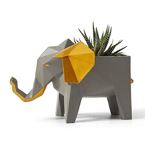 Amoy-Art Jardinera de Cactus Suculenta Figurillas Decorativas Elefante Estatuilla Animale para el Hogar Regalos Resina 17cmL