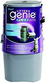 Litter Genie Plus Pail, Ultimate Cat Litter Disposal System, Locks Away Odors, Includes One Refill, Silver - 05320