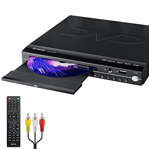Gueray Reproductor de DVD para TV Gratis en Todas Las regiones con Salida AV y USB Reproductor de Disco Grabado en DVD y CD con Control Remoto Compatible con micrófono y Sistema PAL y NTSC