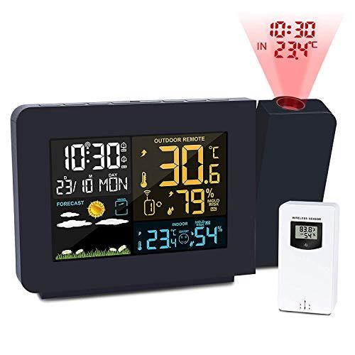 XHLLX Projektionswecker, Wetterstation Mit Außensensor, Projektor Dimmbare Uhr Doppelalarm LCD-Anzeige Datum Uhrzeit Temperatur Luftfeuchtigkeit