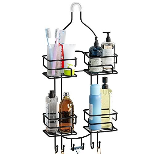 SRIWATANA Shower Caddy Organizer Hanging Over Head, Bathroom Shower Rack Hanger with Hooks for Razors - Black