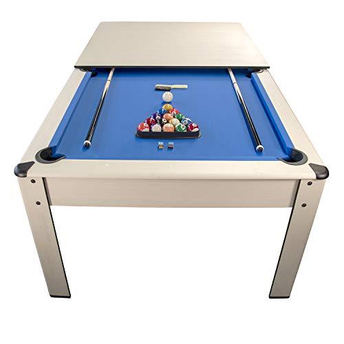 Billar Harmony Convertible en Mesa - 206,5 x 116,5 x 80 cm Color Haya-Alfombra Azul