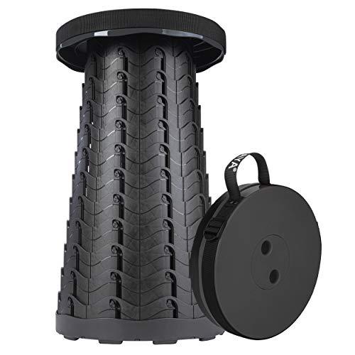 ONVAYA® Ausziehbarer Klapphocker   Patent Design   2020 Neu f altbarer & höhenverstellbarer Campinghocker   Mini Outdoor Hocker   Falthocker für Kinder & Erwachsene (Schwarz)
