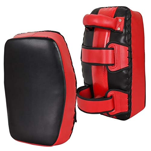 Knockout Fight Gear Curved Muay Thai Kickboxing Pads for Training Kicking Strike Shield MMA Knee & Elbow Target (Pair of Two) (Red/Black)