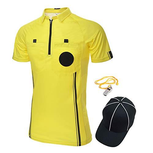 TopTie USSF Pro Camiseta de árbitro de fútbol para hombre, manga corta, sombrero y silbato de entrenador de metal para fútbol, color amarillo-3XL