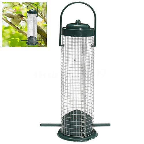 Peahop Comedero para pájaros de plástico, malla de alambre, pajarera salvaje para exteriores