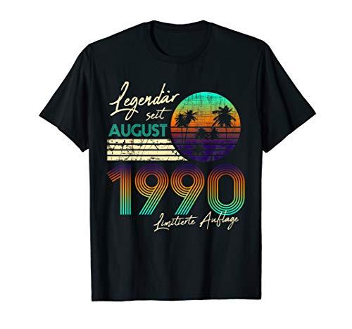 30. Geburtstag Geschenk Männer 30 Legendär Seit August 1990 T-Shirt
