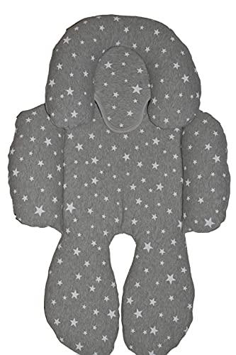 BEYBI® Riduttore per bebè in jersey di cotone, universale, per ovetto, seggiolino auto, gruppo 0, passeggino e culla (grigio stella bianca)