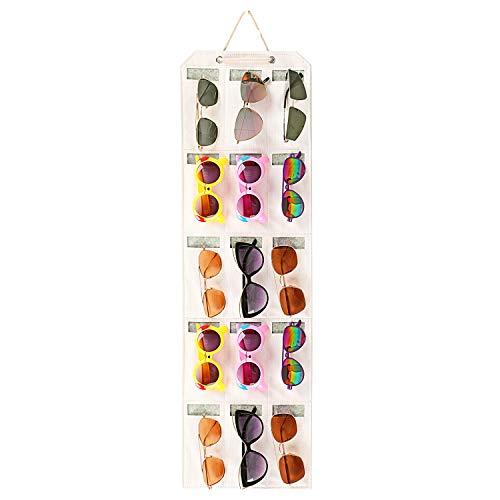 ESINGMILL Eyeglass Sunglasses Organizer Hanging Wall - Glasses Holder Storage Display Pocket Mount Hanger on Wall or Door, 9/15/25 Slots