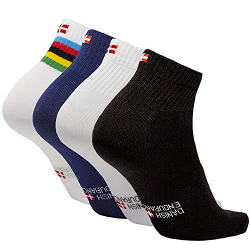 DANISH ENDURANCE Calcetines de Ciclismo 3 Pares (1 x Rayas, 1 x Negro, 1 x Azul), EU 39-42