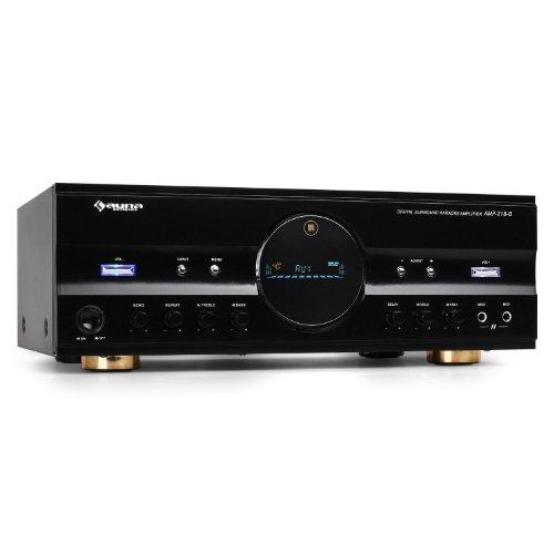 #01 MIGLIOR QUALITA'/SCELTA - auna AMP-218 - Amplificatore Hi Fi, Amplificatore 5.1, 600 Watt Max, 2 x RCA e 1 x Ingresso Jack, Ricevitore Radio, 40 Stazioni Memorizzabili, Equalizzatore, Telecomando, Nero