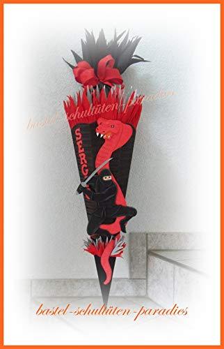 Schultüten Bastelset Ninja mit Schlange schwarz-rot