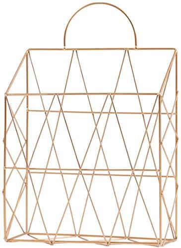 FülleMore Zeitungshalter Magazinhalter aus Metall Wand Tür hängend Zeitungsständer Zeitschriftenständer Tisch Bücherregal für Badezimmer Küche Büro(37.5x25x10cm) (Rosengold)