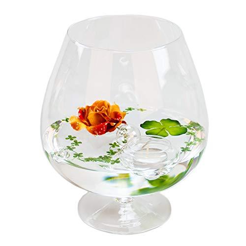 Glaskönig Deko-Glas Cognacglas mittel Höhe 24cm Ø 13cm | Deko-Cognacschwenker mit Dekorations Set Rose rot-braun | Dekoglas als Geschenkset, Dekoration inklusive Deko Komponenten | Deko-Wohnzimmer