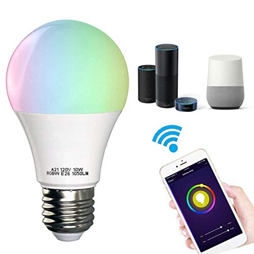 Bombilla inteligente, luces LED WiFi compatibles con Alexa, Google Home Wake-Up Hue foco no requiere Hub, viene con adaptador de enchufe E12 a E27