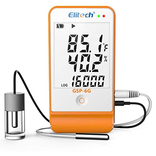 Elitech GSP-6G Temperature and Humidity Data Logger with Glycol Bottle Temperature Sensor Dual External Sensors Life Science Cold Chain, Audio Alarm, MAX/MIN Display, 2-Year Certificate