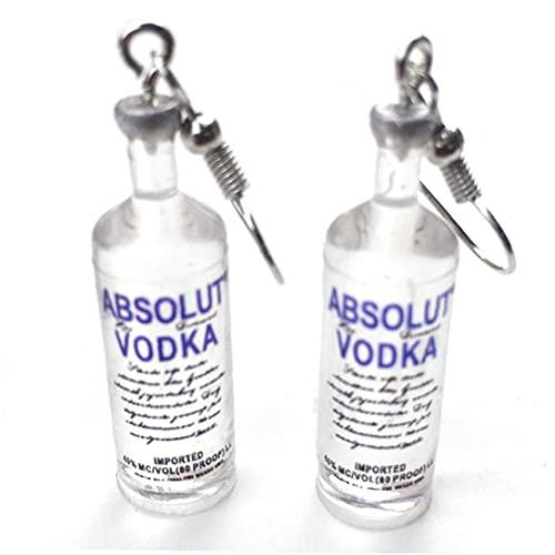 Froiny Pendientes De Gota De Botella De Vodka Divertido Estilo De Bebida Dibujos Animados Botella Transparente Cuelga Pendientes para Mujeres Niña