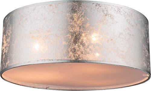 Deckenlampe Schlafzimmer Stoffschirm Deckenleuchte Wohnzimmerlampe (Schlafzimmerlampe, Silber Metallic, 40 cm, 3 x E14)
