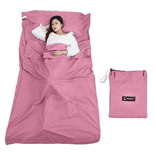 Queta Hüttenschlafsack Schlafsack Reiseschlafsack mit Tragetasche Ideal für Innen Hostels Berghütten Jugendherbergen Camping Outdooraktivitäte usw. (Rosa)