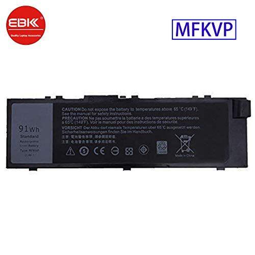 K KYUER 11.4V 91Wh MFKVP Laptop Battery for Dell Precision 15 7000 7510 7520 Precision 17 7000 7710 7720 M7710 M7510 Mobile Workstation TWCPG T05W1 GR5D3 0FNY7 1G9VM M28DH 451-BBSB 451-BBSE 451-BBSF