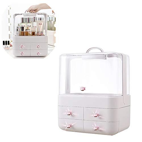 LSJZF Organizador de Maquillaje, Cajas de Almacenamiento para Joyas y cosméticos, para baño, Resistente al Agua, Resistente al Polvo, cómoda con Cubierta Transparente y 4 cajones