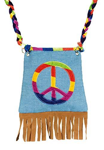 Körner Festartikel Hippie Tasche Peace mit Fransen - Umhängetasche in Jeans Optik zum Kostüm