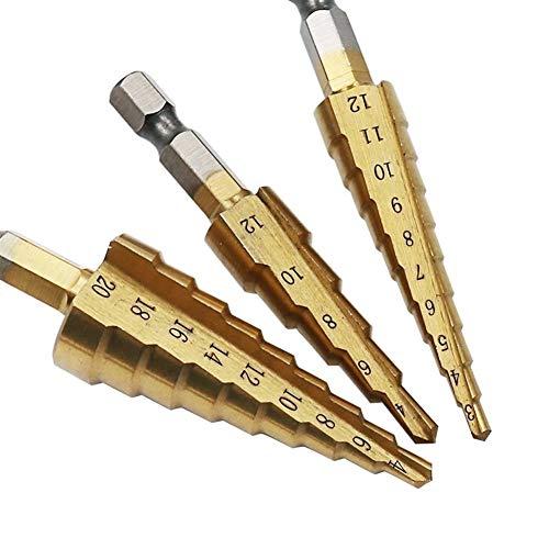 Broca escalonada, para perforación de metal de madera, 3 unids/set de brocas de titanio HSS herramientas eléctricas de alta velocidad cortador de agujeros de acero 3-12 mm 4-12 mm 4-20 mm