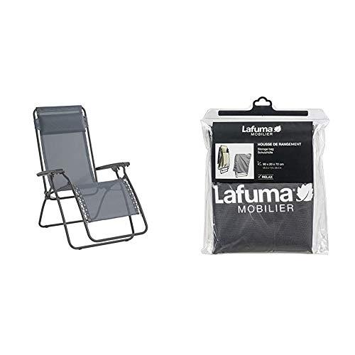 Lafuma Relax-Liegestuhl aus Basaltstahl, Klappbar, RT 2, Silex Grau, LFM4018-8544 & Schutzhülle für alle Relax-Modelle, anthrazit