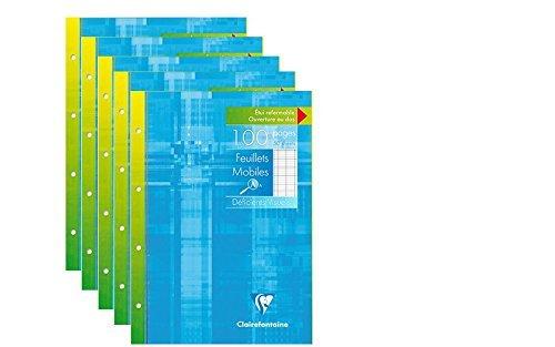 CLAIREFONTAINE - Lot de 5 Etui de 100 Copies Simples Perforées - Grands Carreaux - 100 pages - A5 (17x22cm)