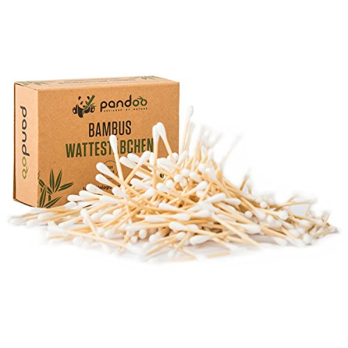 pandoo 14er Pack Bambus Wattestäbchen | 2800 Stück | 100% biologisch abbaubar, vegan & nachhaltig | kompostierbare premium Wattestäbchen
