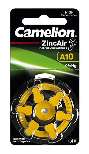 Camelion 15056010 Zink Luft Knopfzellen ohne Quecksilber A10/ZL 10/1,4 Volt, 6er-Pack