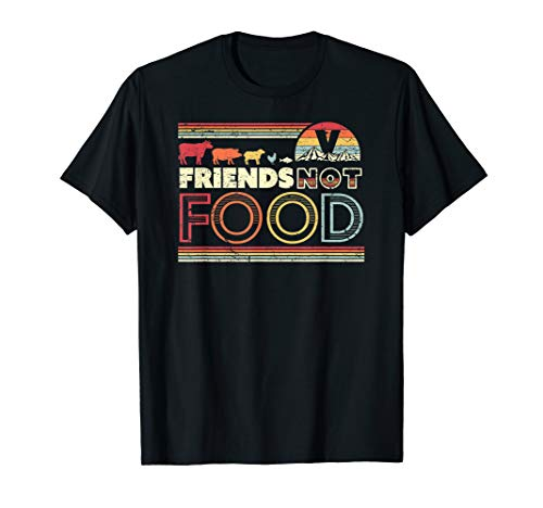 Friends Not Food Shirt. Retro Style Vegan, Vegetarian T-Shirt