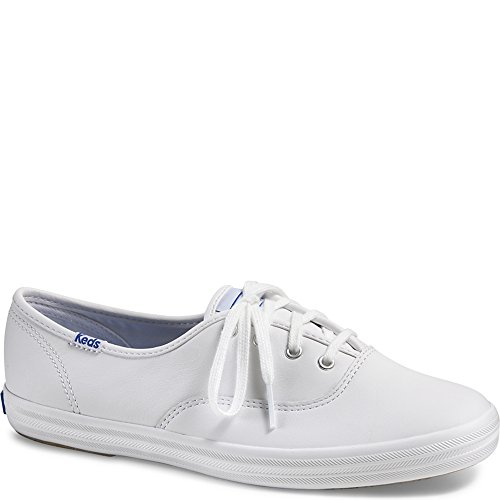 Keds Women's Champion Original Leather Lace-Up Sneaker, White Leather, 8 M US