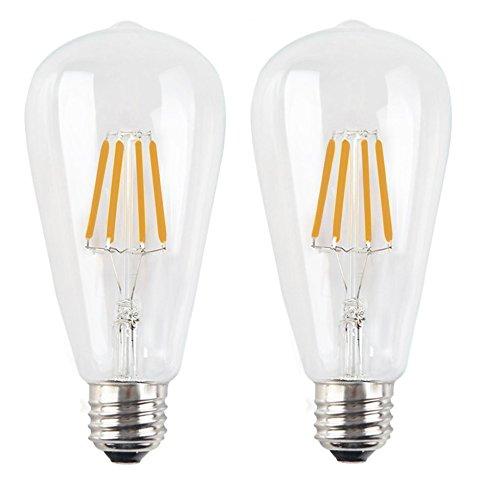 2X E27 Bombilla de Filamento ST64 Bombilla Retro Vintage Dimmable 4W LED de Edison Blanco Cálido 2200K Edison Bombilla 400LM Filament LED AC 220V