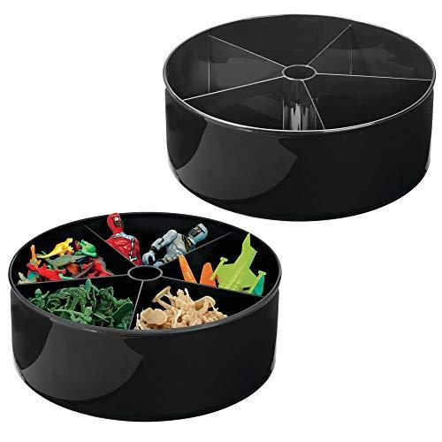 mDesign Juego de 2 cestas organizadoras con plato giratorio – Caja de almacenaje rotatoria 360° para cuarto infantil y hogar – Bol giratorio con 5 compartimentos para juguetes o pinturas – negro