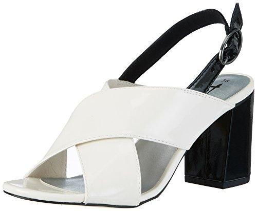 Tamaris Damen 28395 Offene Sandalen mit Keilabsatz, Weiß (WHT PT/BLK PT 103), 37 EU