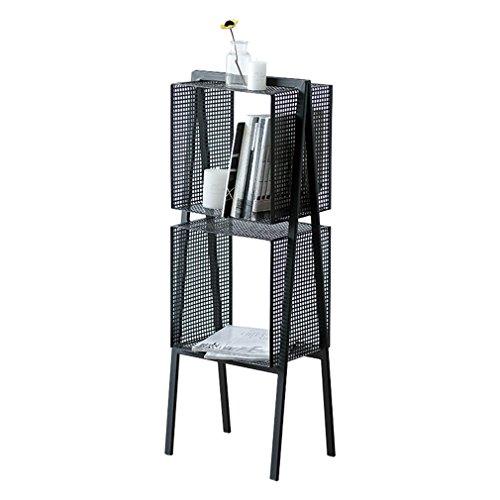 2 niveaux de fer debout stockage étagère table basse Magzine titulaire Rack salon pour la maison chambre bureau cuisine salle de bains noir (taille: 40 * 28 * 108 cm)